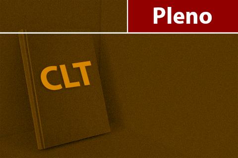 """Ilustração representando um livro com a compilação da CLT. Filtro amarelo. Texto """"Pleno""""."""