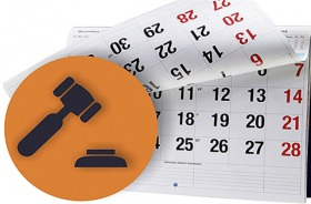 Ilustração de um calendário e de um martelo de leiloeiro