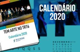 Arte ilustrando o calendário 2020 do TRT6