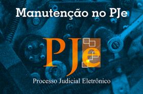 """Ilustração de engrenagens. Na frente da imagem há o texto """"manutenção no Processo Judicial Eletrônico"""""""