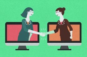 Ilustração de duas pessoas saindo de monitores e apertando as mãos, fazendo menção a um acordo
