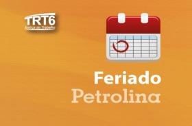"""Ilustração de um calendário e texto """"Feriado Petrolina"""""""