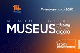 Sobre um funda azul e laranja, cartaz da 14ª Primavera dos Museus