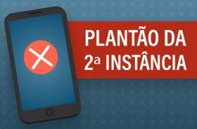 """Imagem de um aparelho celular, um X indicando defeito, e a inscrição """"Plantão da 2ª Instância"""""""