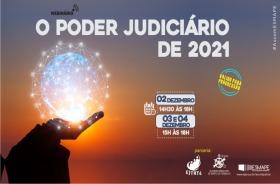 """Figura representando a coenctividade ao acesso das mãos e texto """"O Poder Judiciário de 2021"""""""