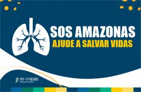 """Ilustração de um pulmão e texto """"SOS Amazonas - ajude a salvar vidas"""""""