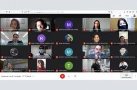 Imagem da sala de reunião virtual com os participantes