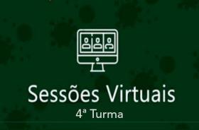 """Imagem: Sobre fundo verde, imagem de computador e a inscrição """"Sessões Virtuais - 4ª Turma"""""""