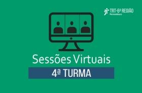 Sobre fundo verde, imagem de computador e a inscrição Sessões Virtuais - 4ª Turma