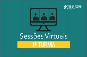 Sobre fundo verde, imagem de computador e a inscrição 'Sessões Virtuais - 1ª Turma'