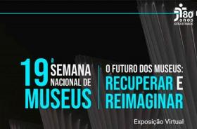 Ilustração com fundo preto e nomes em azul e branco 19ª Semana de Museus