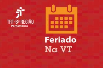 """Ilustração com um calendário e texto """"Feriado  na VT"""""""