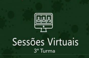 """Computador e texto """"Sessões virtuais 3ª Turma"""""""