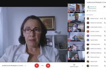 Fotografia da videoconferência, com imagens de desembargadora, procuradores e advogados