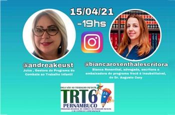 Imagem das palestrantes com informações de horário, data e endereços de Instagram no qual haverá a palestra.