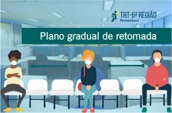 Arte mostra pessoas sentadas com distanciamento e tem escrito Plano Gradual de Retomada