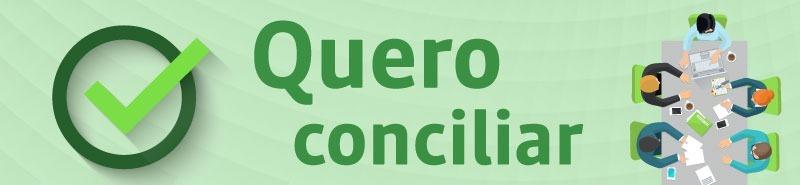 """Ilustração de pessoas sentadas a mesa de reuniões. Na frente da imagem há o texto """"Quero conciliar"""""""