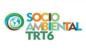 """Logotipo com o texto """"Socioambiental do TRT6"""", letras coloridas e ilustração do planeta Terra na lateral"""