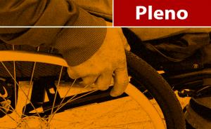 """Ilustração representando uma pessoa na cedeira de rodas. Contém texto """"Pleno"""""""