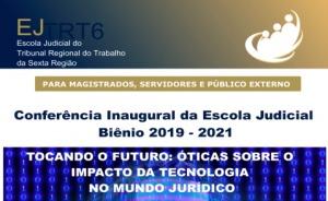 Cartaz, contendo a logomarca do evento patrocinado pela Escola Judicial
