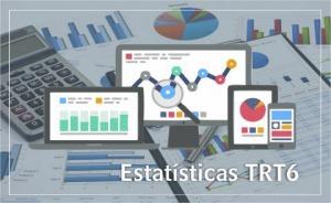 """Ilustração com representação de vários gráficos e uma calculadora. Contém texto """"Estatísticas TRT6"""""""