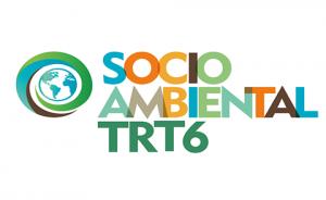 """Texto """"Socioambiental TRT6"""" com letras coloridas"""