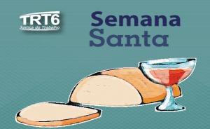 """Ilustração de um ão e um cálice de vinho. Contém logomarca do TRT6 e texto """"Semana Santa"""""""