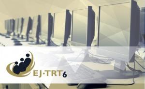 Arte gráfica com a logomarca da EJ-TRT6, com computadores ao fundo
