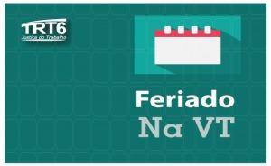 """Ilustração, com um calendário e a inscrição """"Feriado na VT"""""""