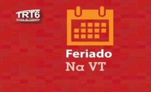 """Ilustração com um calendário e a inscrição """"Feriado na VT"""""""